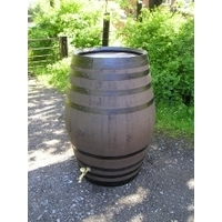 100 Gallon Stained Oak Barrel Water Butt