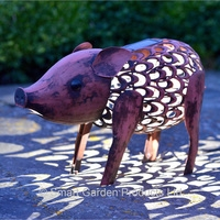 Metal  Silhouette Pig Solar Light