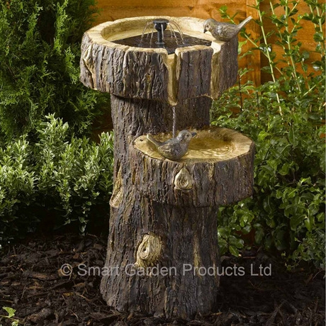 Tree Trunk Birdbath / Solar Water feature