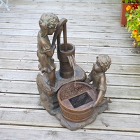 Boy & Girl With Water Pump Solar Fountain