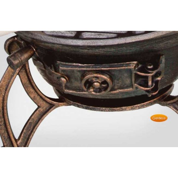 Barrel Garden Toledo Medium Cast Iron Bronze Chimenea With Grapes Motif 3 Sizes With Grill