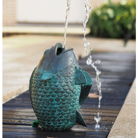 Verdigris Bronze Fish Vase Fountain