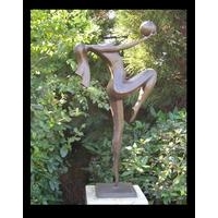 Lady Playing Ball Contemporary Bronze Statue