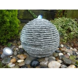 Grey Rustic Sphere Fountain