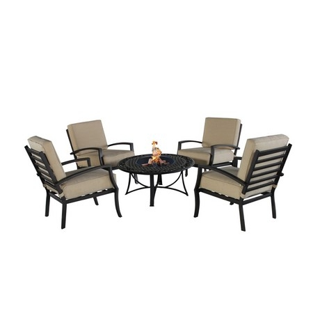 Violetta Cast Aluminium Garden Furniture Set With BBQ Grill - 4 Chairs