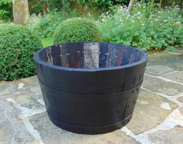 "24"" Dark Stained Finish Oak Tub Half-Barrel"
