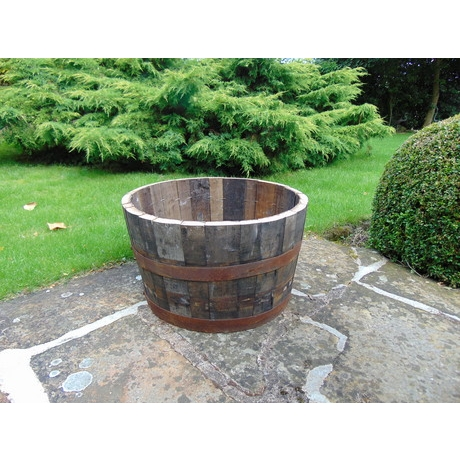 "24"" Natural Finish Oak Tub Half-Barrel"