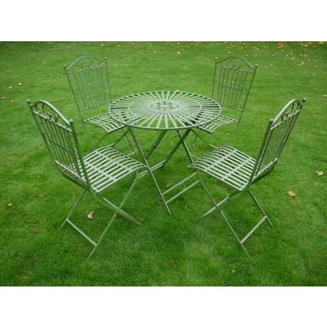 Green Strapped Metal 4 Seat Dining Set