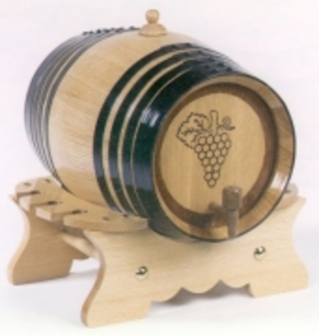 Seasoned Oak 8 Litre Engraved Grape Bunch Wine Barrel