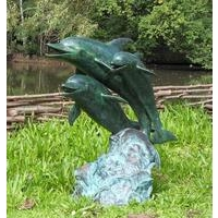 Dolphin Family Bronze Statue Fountain