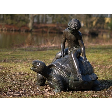 Boy Sitting On Giant Turtle Bronze Statue Fountain