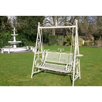 Traditional Metal Garden Swing Seat - Cream