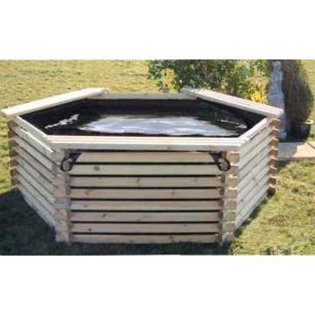 Barrel garden 600 gallon koi log pond for Koi pond gallons