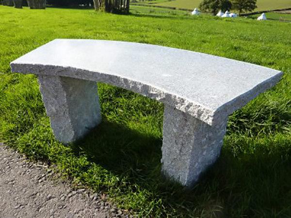 Curved Granite Garden Bench Grey