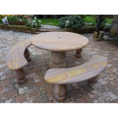 Rainbow Sandstone Round Table & 3 Bench Patio Set