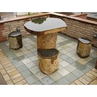 Basalt Table Patio Set With 4 Stools
