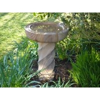 Rainbow Sandstone Spiral Bird Bath