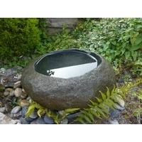 Natural Granite Boulder Basin Bird Bath - Small