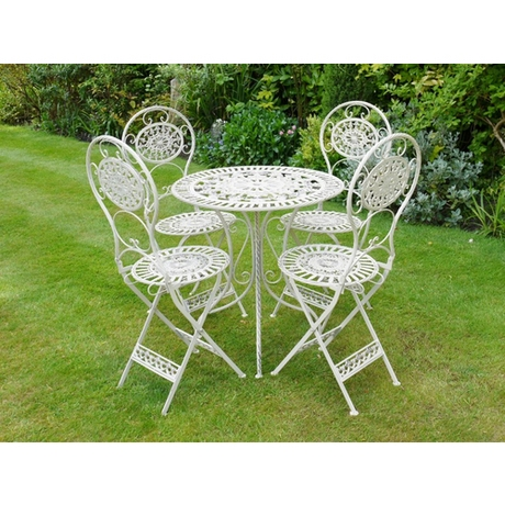 Metal Bistro Dining Set 4 Chairs - Cream