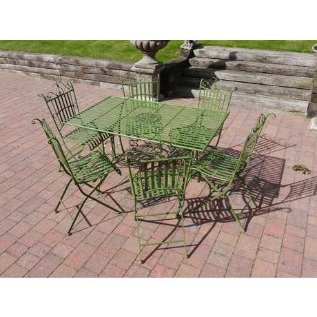 Green Strapped Metal 6 Seat Dining Set