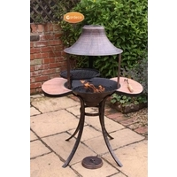 Corona Fire Bowl With Grill & side Tables - Medium