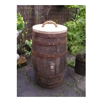 Oak Barrel Waste/Recycling Bins
