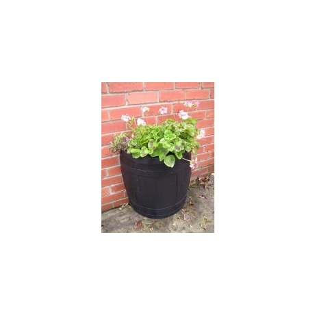 Half Oak Barrel Wall Planter - Dark Finish