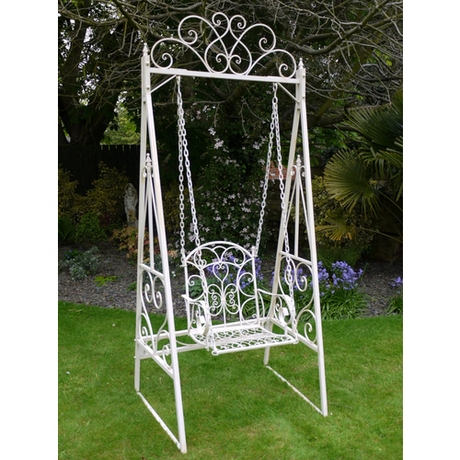 Traditional Metal Garden Swing Chair - Cream