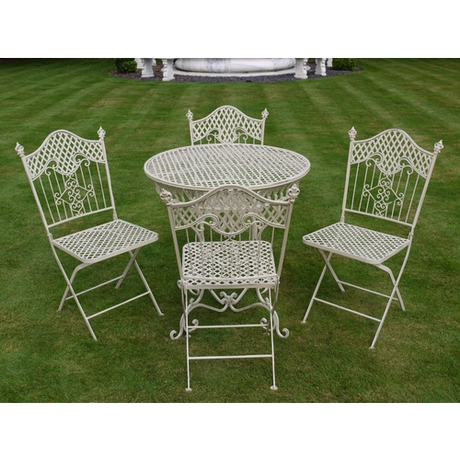 Cream Metal 4 Seat Dining Set