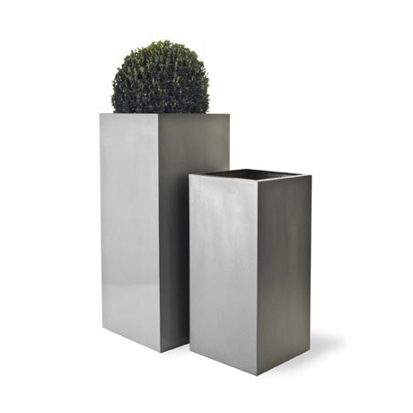 Geo Square Planter - Aluminium Finish