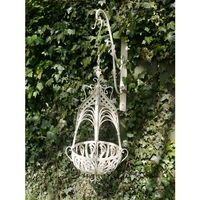 Cathedral Top Wrought Iron Small Hanging Basket - Cream