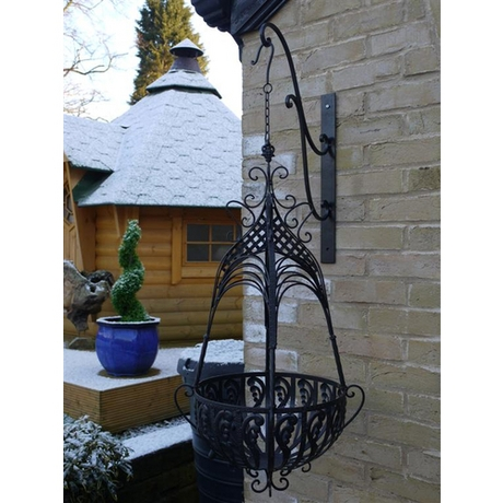 Cathedral Top Wrought Iron Large Hanging Basket - Black