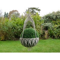 Cathedral Top Wrought Iron Large Hanging Basket - Cream