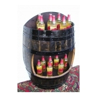 Dark Oak Wall Barrel - Bottled Drinks Display Cabinet
