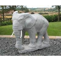 Grey Granite Elephant Sculpture