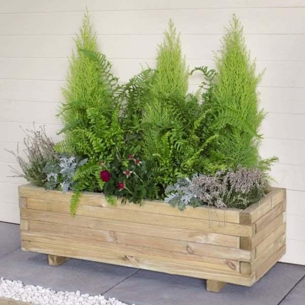 barrel garden agen wooden planter trough