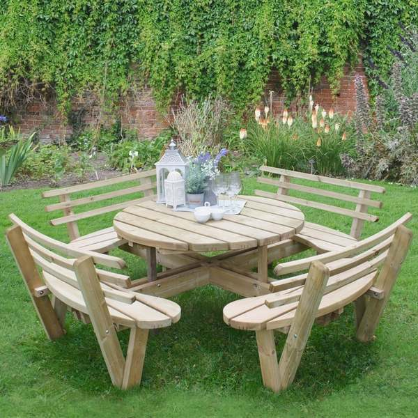 Barrel Garden Circular Timber Picnic Table With Seat Backs - Timber picnic table