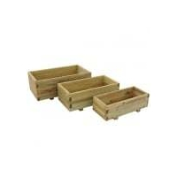 Durham Rectangle Wooden Planters Set of 3