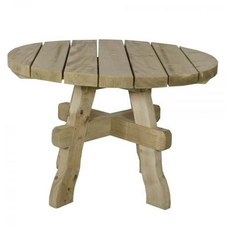 Ragley Round Garden Table - Rustic Timber