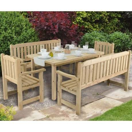 Rosedene Rectangular Garden Table - Rustic Timber