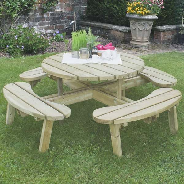 Barrel Garden Large Circular Timber Picnic Table - Timber picnic table
