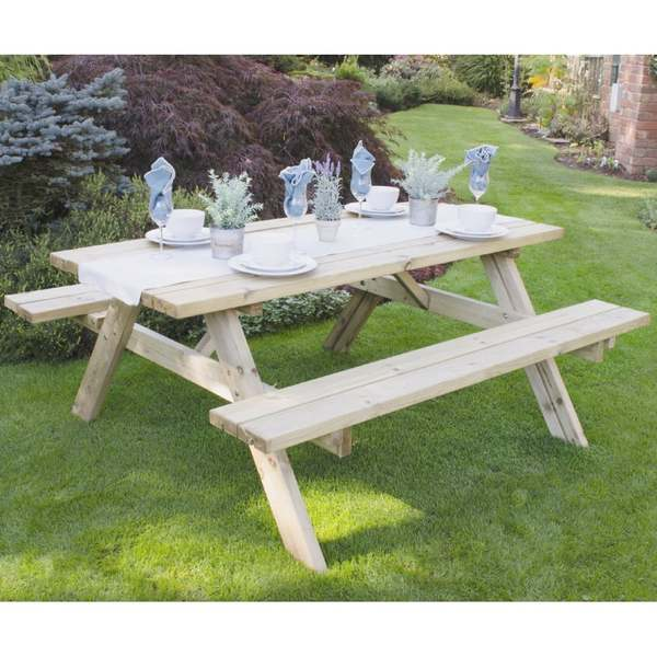 Barrel Garden Rectangular Timber Picnic Table Large - Timber picnic table