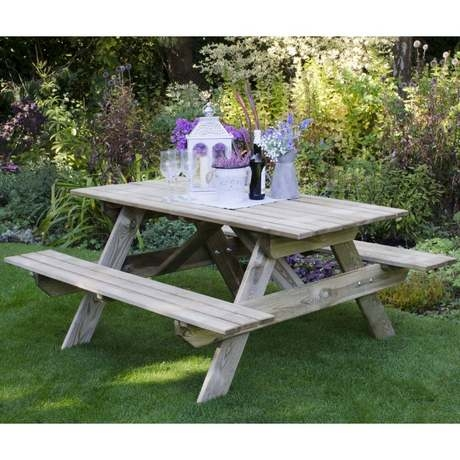 Rectangular Timber Picnic Table - Small