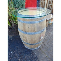 French Wine Barrel Glass Top Table - 225L