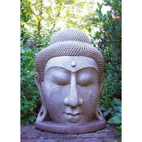Grand Buddha Head Stone Sculpture