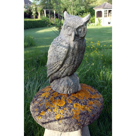 Great Horned Owl - Stone Garden Ornament
