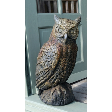Great Horned Owl Stone Ornament - Burnt Umber