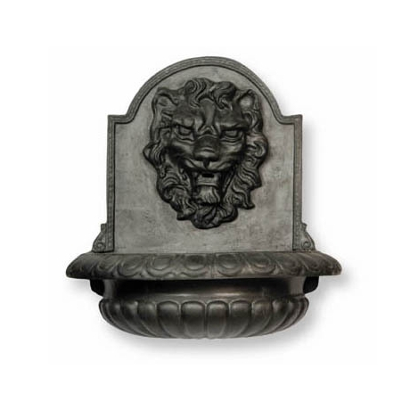 Great Lion Bowl Wall Fountain - XL Faux Lead