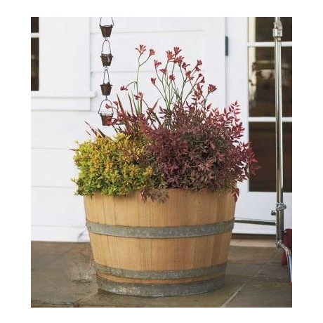 "Half French Oak Wine Barrel Tub Planter - 28"" Diameter"