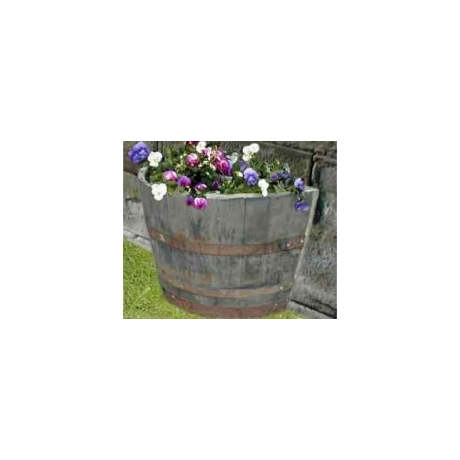 "27"" Half Moon Natural Finish Oak Tub Barrel Planter"